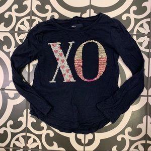 Gap Kids XO sequin Long Sleeve tee shirt